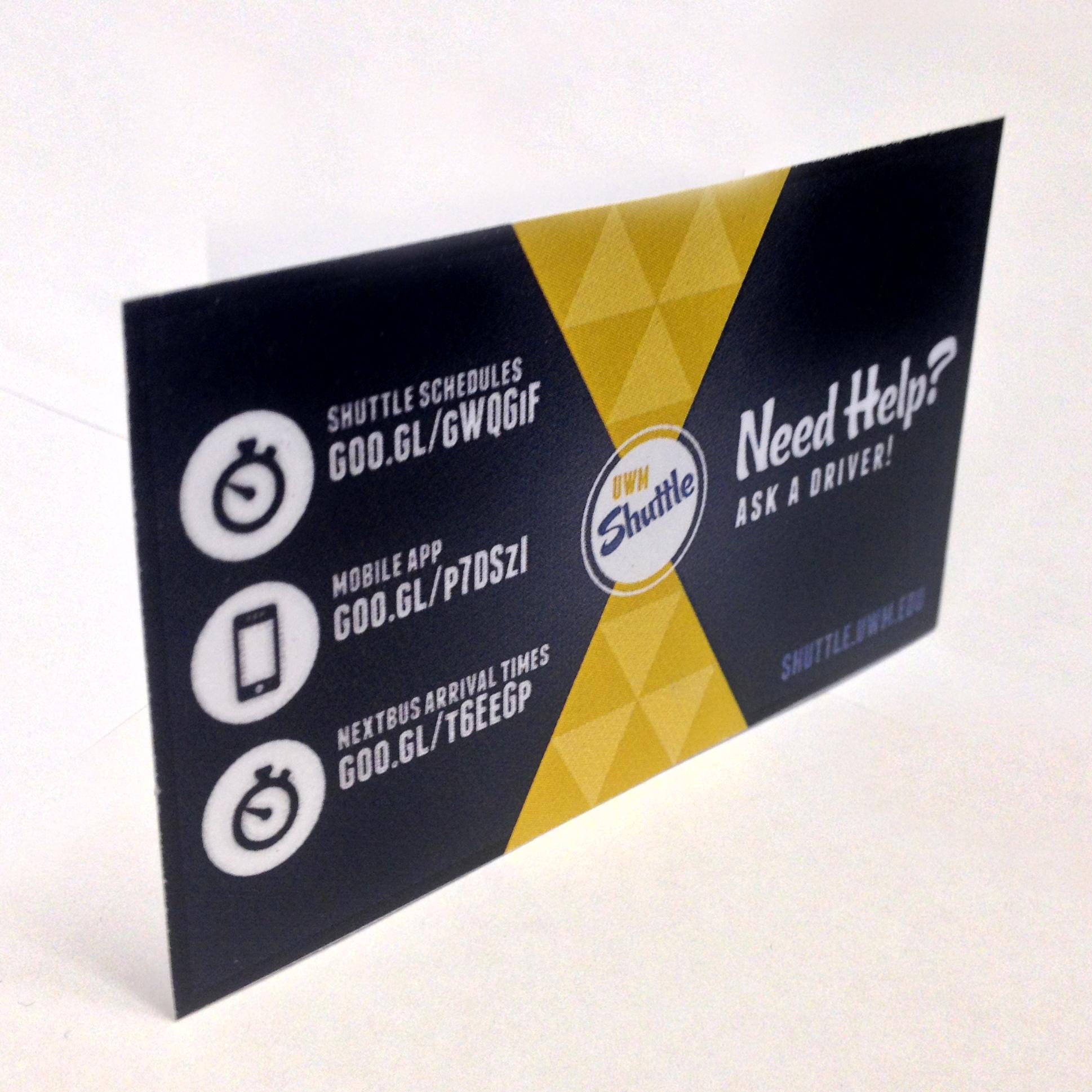 UWM shuttle help cards