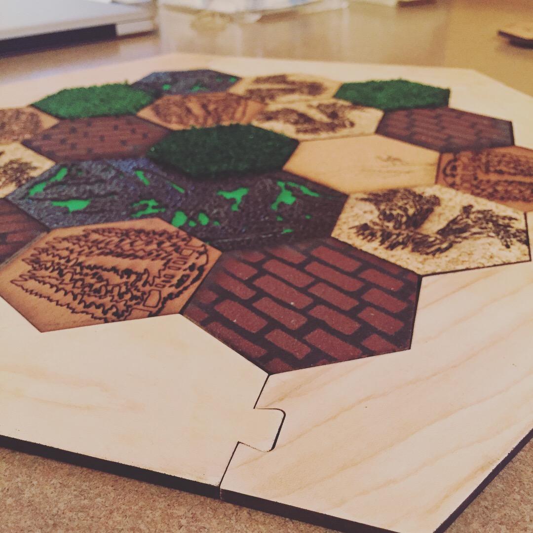 settlers of catan custom laser cut wood pieces