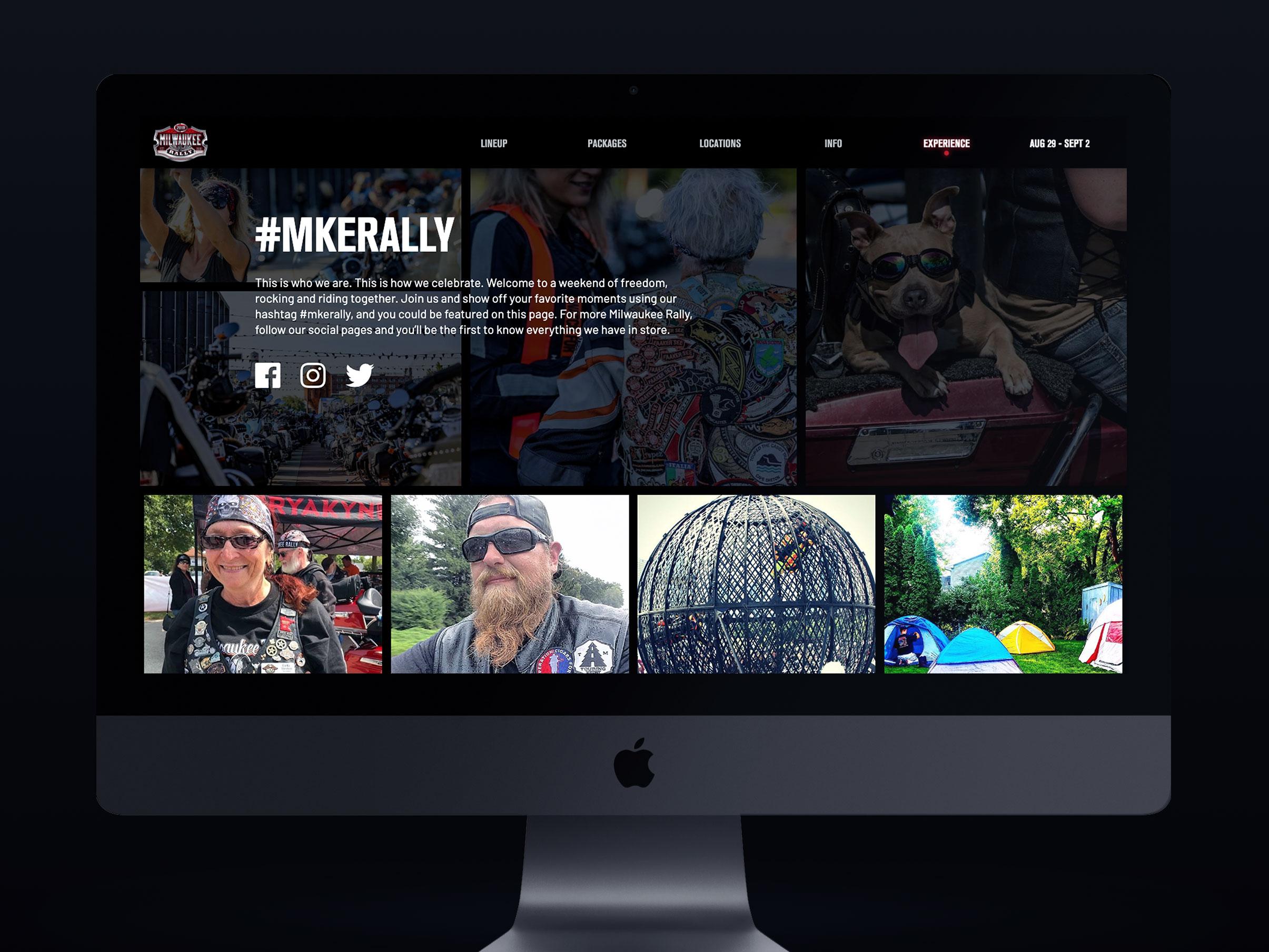 Milwaukee Rally website design experience page