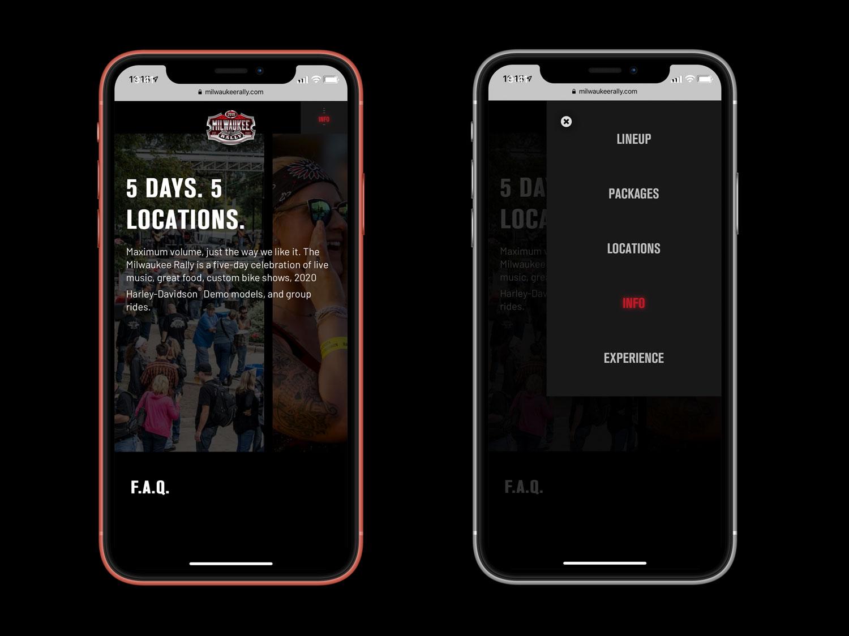Milwaukee Rally website designs mobile