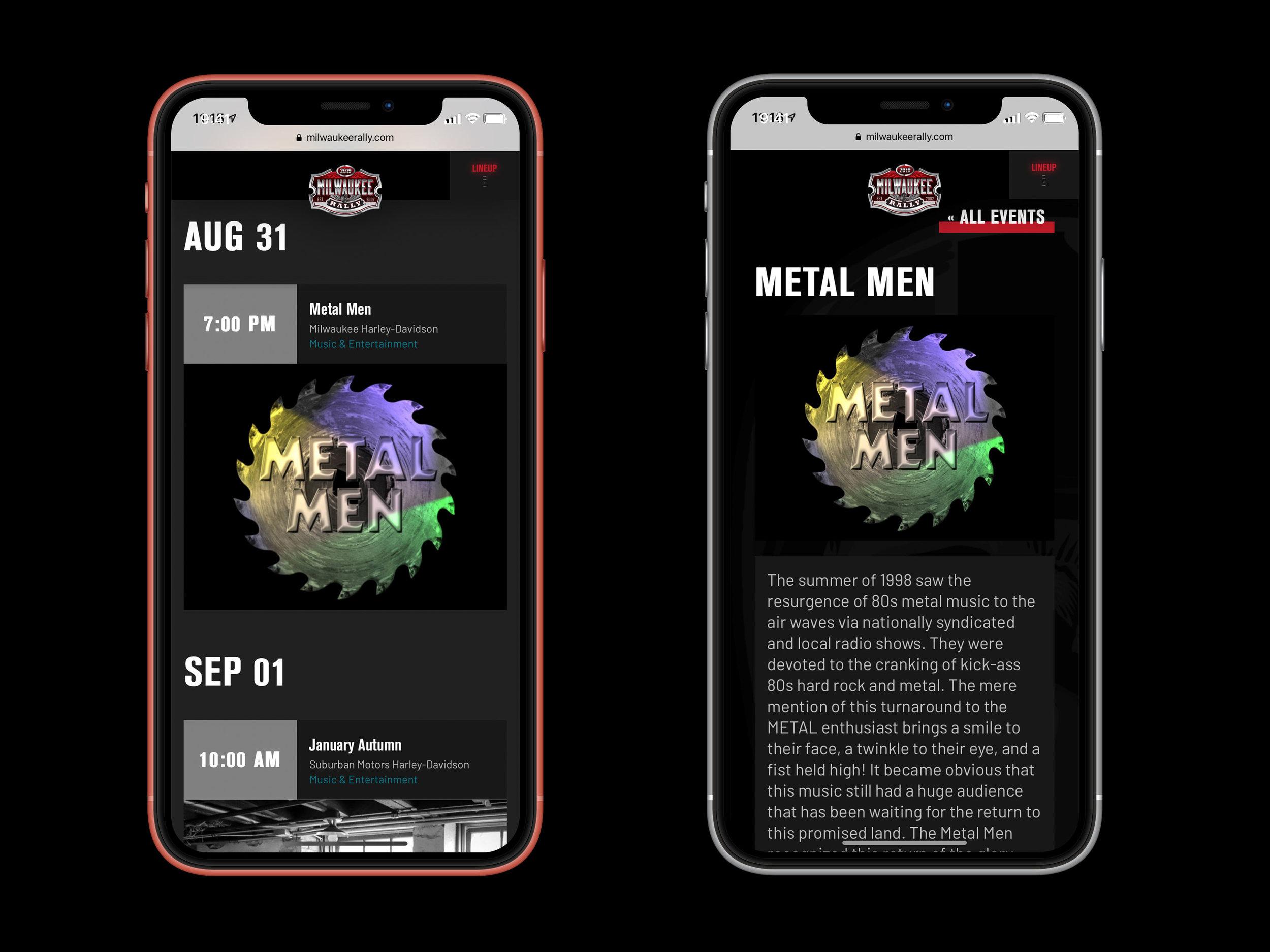 Milwaukee Rally website mobile designs