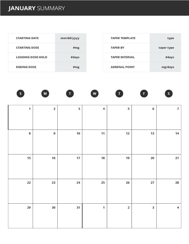 steroid taper app weekly calendar