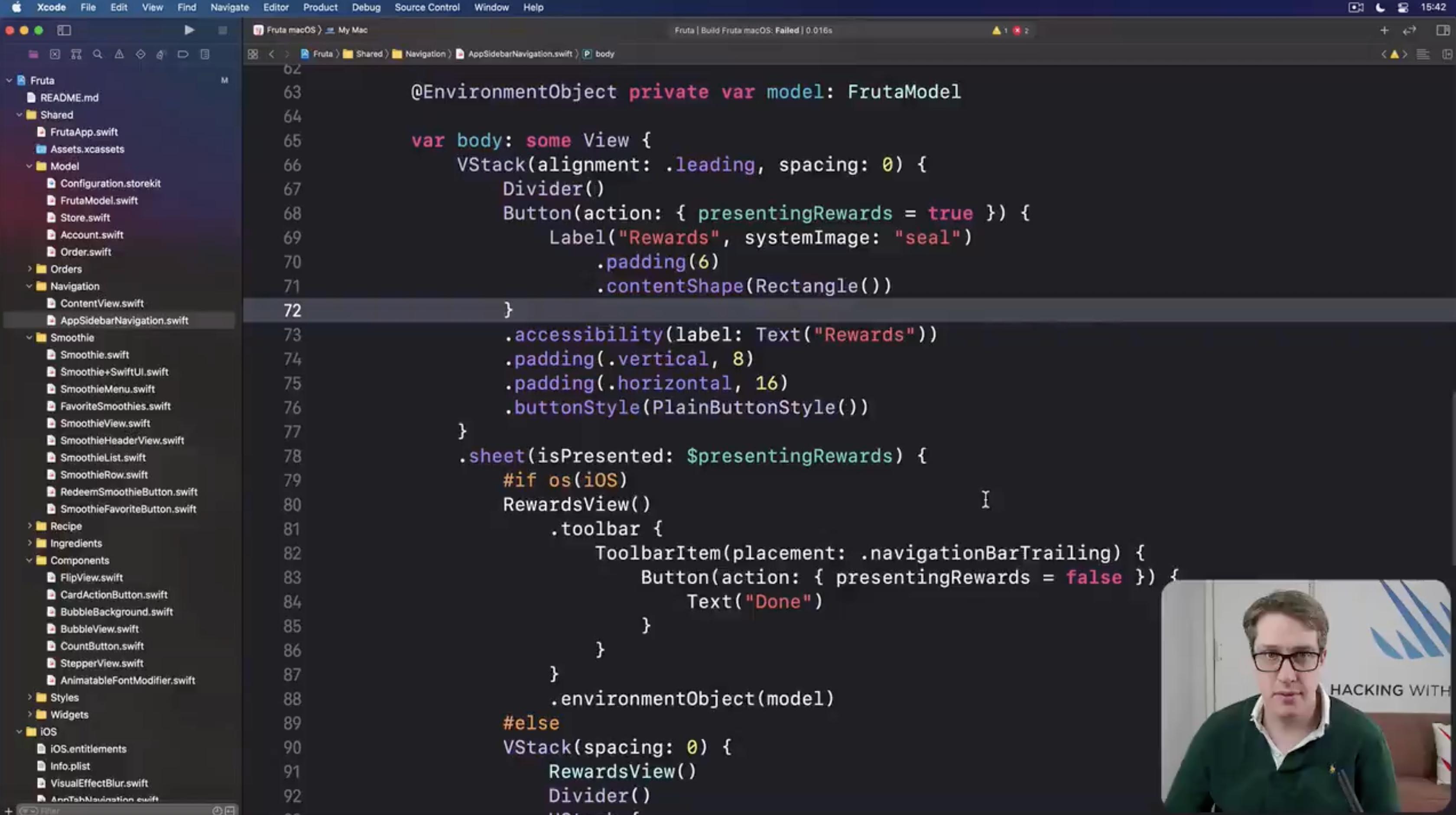 Paul Hudson teaching an Xcode tip